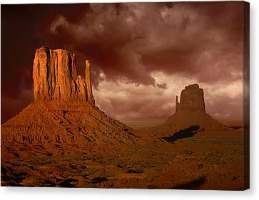 Natures Fury In Monument Valley Arizona Canvas Print by Katrina Brown