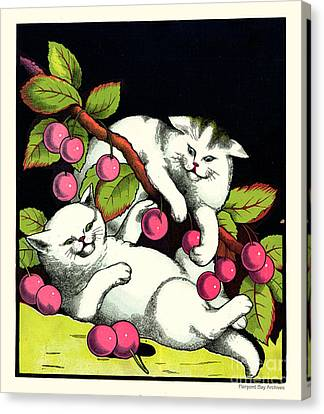 Naughty Cats Play With Cherries  Canvas Print by Pierpont Bay Archives