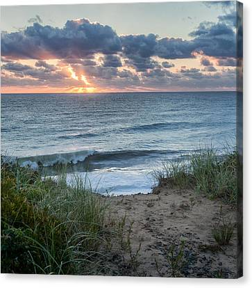 Nauset Light Beach Sunrise Square Canvas Print