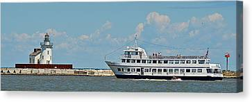 Nautica Queen In Lake Erie Harbor Canvas Print by Frozen in Time Fine Art Photography