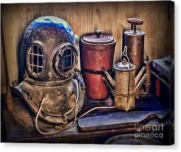 Nautical - Antique Dive Helmet Canvas Print by Paul Ward