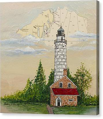 Nautical Chart Cana Island Lighthouse Canvas Print by Bethany Kirwen