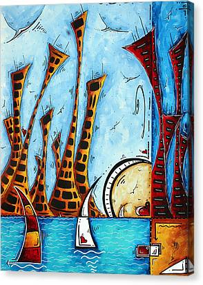 Nautical Coastal Art Original Contemporary Cityscape Painting City By The Bay By Madart Canvas Print by Megan Duncanson