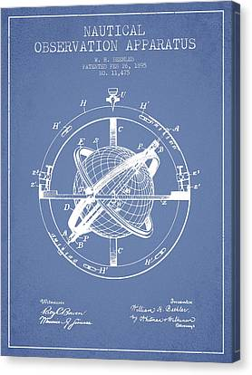 Nautical Observation Apparatus Patent From 1895 - Light Blue Canvas Print