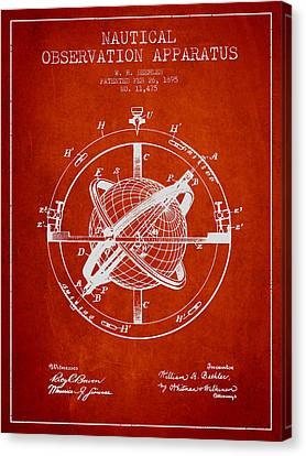 Nautical Observation Apparatus Patent From 1895 - Red Canvas Print by Aged Pixel