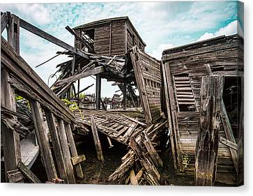 Nautical - Shipwreck - Collapsed Pier Canvas Print by Gary Heller