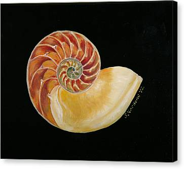 Canvas Print featuring the painting Nautilus Shell by Sandra Nardone