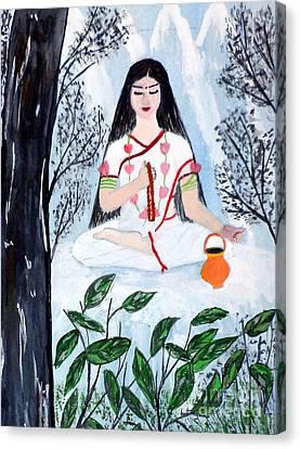 Goddess Durga Canvas Print - Nava Durga Brahmacharini by Pratyasha Nithin