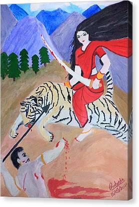 Goddess Durga Canvas Print - Nava Durga Kaatyayani by Pratyasha Nithin