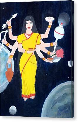 Goddess Durga Canvas Print - Nava Durga Kusmaanda by Pratyasha Nithin