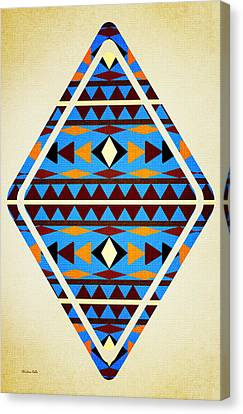 Navajo Blue Pattern Aged Canvas Print by Christina Rollo