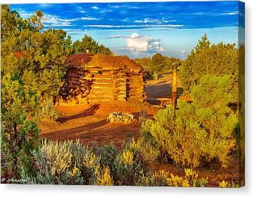 Navajo Hogan Canyon Dechelly Nps Canvas Print by Bob and Nadine Johnston