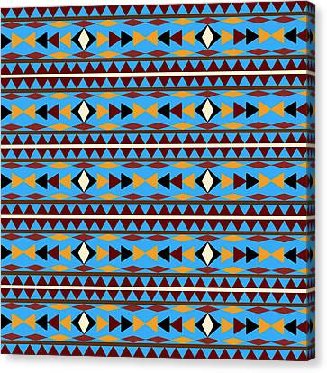 Pattern Canvas Print - Navajo Blue Pattern by Christina Rollo