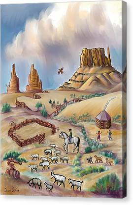 Navajo Sheepherder - Age 11 Canvas Print by Dawn Senior-Trask