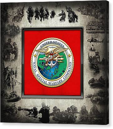 Canvas Print featuring the digital art Naval Special Warfare Command - N S W C - Emblem  Over Navy Seals Collage by Serge Averbukh