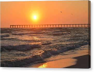 Navarre Beach And Pier Sunset Colors With Birds And Waves Canvas Print by Jeff at JSJ Photography