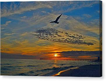 Canvas Print featuring the photograph Navarre Beach And Pier Sunset Colors With Gulls And Waves by Jeff at JSJ Photography