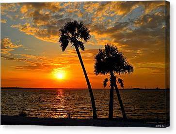 Navarre Beach Bridge Sunrise Palms Canvas Print