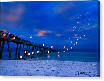 Navarre Beach Fishing Pier - Night Landscape Canvas Print by Eszra Tanner