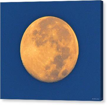 Canvas Print featuring the photograph Navarre Beach Full Moon At Sunrise by Jeff at JSJ Photography