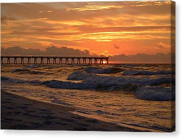Navarre Pier At Sunrise With Waves Canvas Print