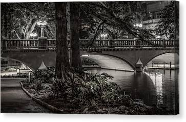 Canvas Print featuring the photograph Navarro Street Bridge At Night by Steven Sparks
