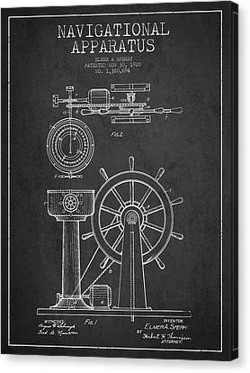 Navigational Apparatus Patent Drawing From 1920 - Dark Canvas Print by Aged Pixel