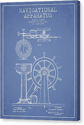 Navigational Apparatus Patent Drawing From 1920 - Light Blue Canvas Print by Aged Pixel