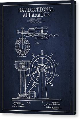 Navigational Apparatus Patent Drawing From 1920 - Navy Blue Canvas Print by Aged Pixel