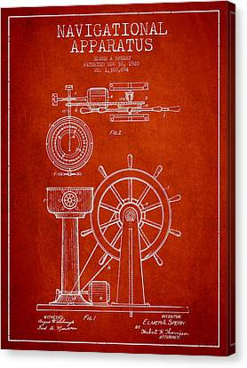 Navigational Apparatus Patent Drawing From 1920 - Red Canvas Print by Aged Pixel