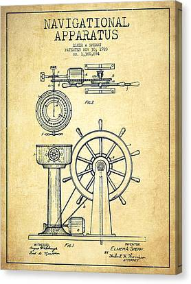 Navigational Apparatus Patent Drawing From 1920 - Vintage Canvas Print by Aged Pixel