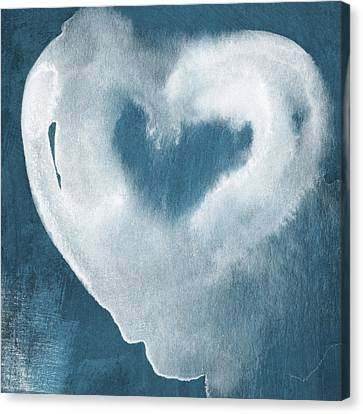 Navy Blue And White Love Canvas Print by Linda Woods