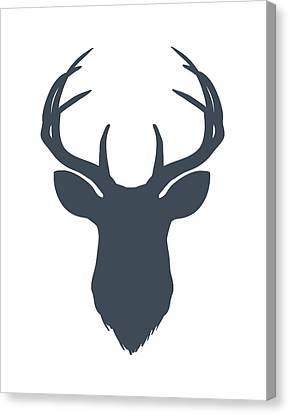 Navy Blue Deer Head Canvas Print
