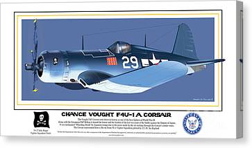 Canvas Print featuring the drawing Navy Corsair 29 On Blue by Kenneth De Tore