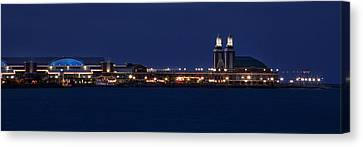 Navy Pier At Twilight Canvas Print by Andrew Soundarajan