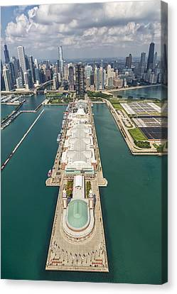 Navy Pier Chicago Aerial Canvas Print by Adam Romanowicz