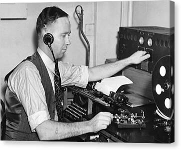 Concentration Canvas Print - Navy Radio Telegraph Man by Underwood Archives