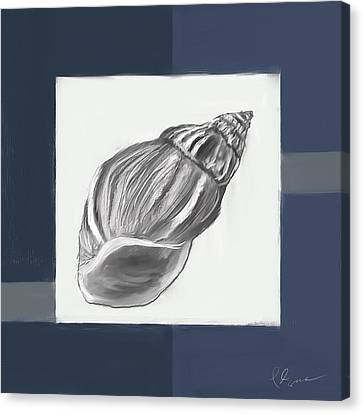 Navy Seashells I-navy And Gray Art Canvas Print by Lourry Legarde