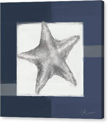 Navy Seashells IIi- Navy And Gray Art Canvas Print