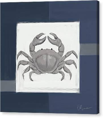 Navy Seashells Iv - Navy And Gray Art Canvas Print