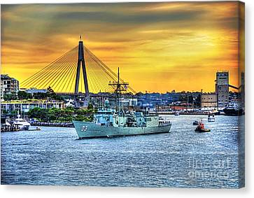 Navy Ship And Anzac Bridge At Sunset Canvas Print