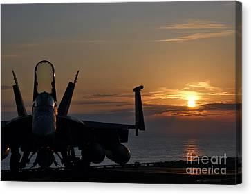 Canvas Print featuring the photograph Navy Super Hornet by John Swartz