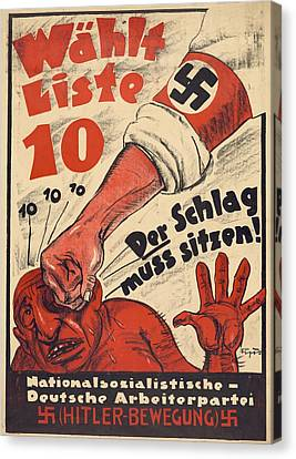 Nazi Party Anti-semitic Poster Canvas Print
