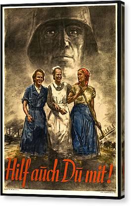 Nazi War Propaganda Poster Canvas Print by Daniel Hagerman