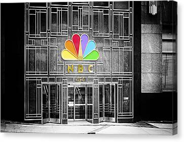 Nbc Facade Selective Coloring Canvas Print by Thomas Woolworth