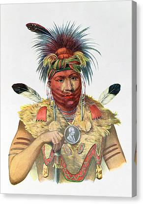 Ne-sou-a-quoit, A Fox Chief, Illustration From The Indian Tribes Of North America, By Thomas L Canvas Print by Charles Bird King