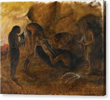 Neandertha Burial, Artwork Canvas Print by Science Photo Library