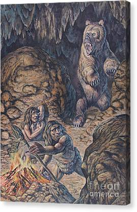 Neanderthal Humans Confronted By A Cave Canvas Print