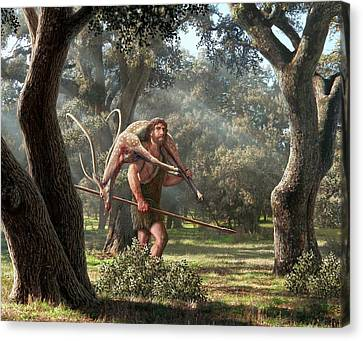 Neanderthal Hunter Canvas Print by Mauricio Anton