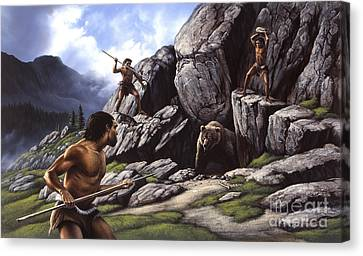 Neanderthals Hunt A Cave Bear Canvas Print by Jerry LoFaro